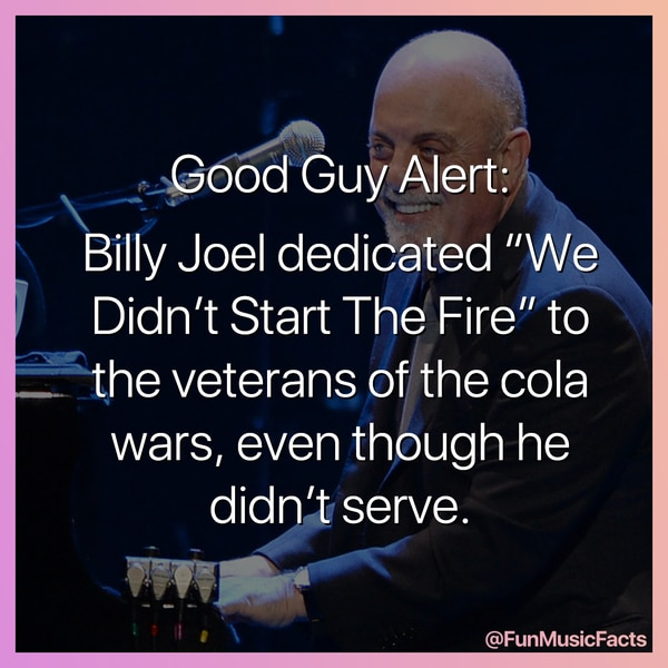 Billy Joel smiling because he was not part of the cola wars fake music fact
