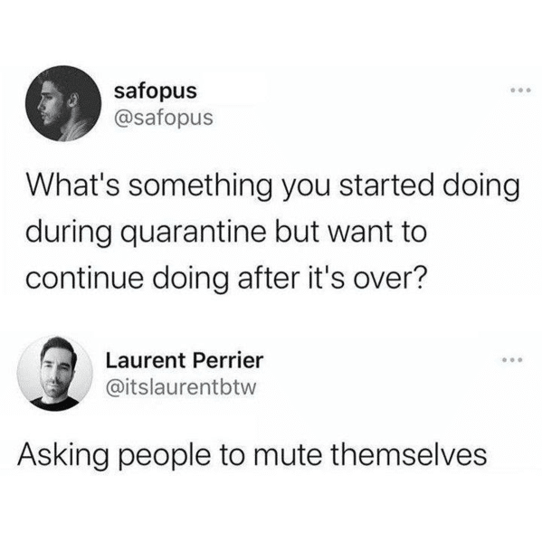 Funny Zoom Memes about asking people to mute themselves in real life after zoom ends