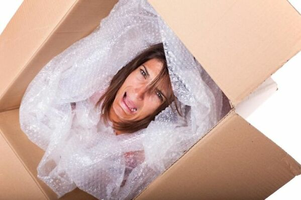 WTF stock photos woman crying about bubble wrap