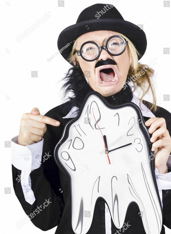 WTF stock photos melting clock and a woman crying