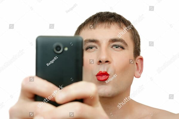 selfie man in lipstick WTF stock photos