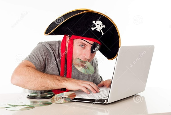 WTF stock photos pirate on a computer