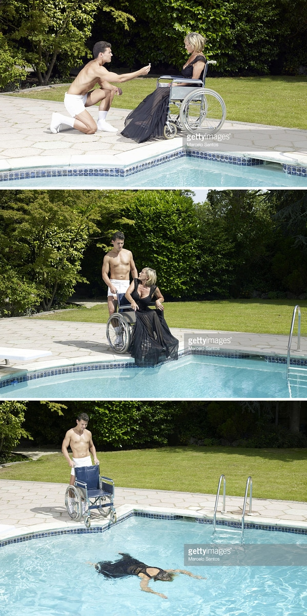WTF stock photos murder scene wheelchair by pool getting thrown in