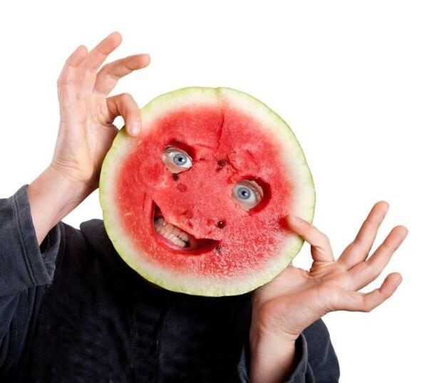 WTF stock photos watermelon face man