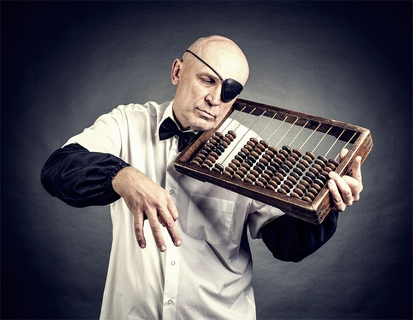 WTF stock photos one eyed man with abacus