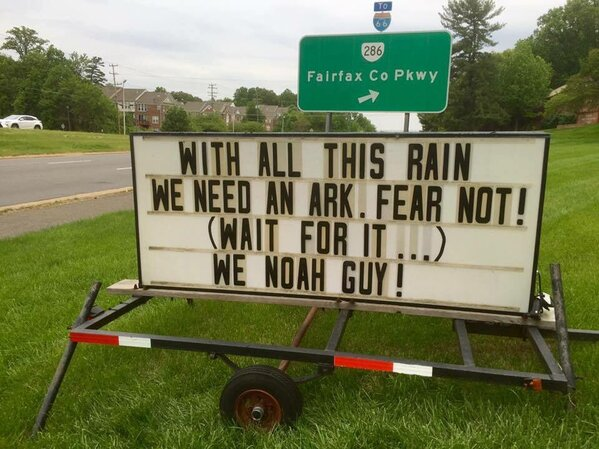 with all this rain we need an ark joke, we noah guy, Funny church signs, humorous signs, jokes about god and church, clean humor