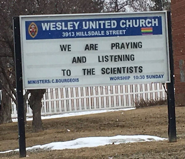 we are praying and listening to the scientists, Funny church signs, humorous signs, jokes about god and church, clean humor