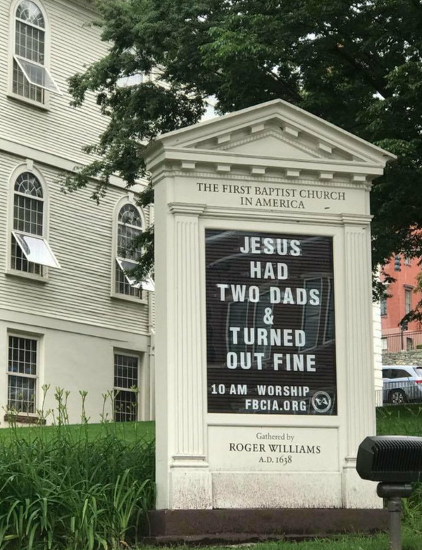 Jesus had two dads and turned out fine, Funny church signs, humorous signs, jokes about god and church, clean humor