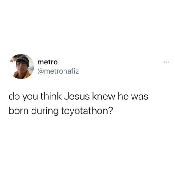 toytathon tweet jesus funny Christmas memes, funniest Christmas memes, xmas memes, Christmas memes 2020, funniest x-mas memes, funny Christmas jokes, funny Christmas tweets