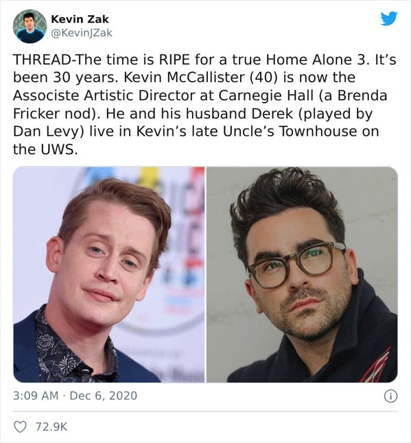viral movie tweets about Home Alone, reboot pitch, twitter thread