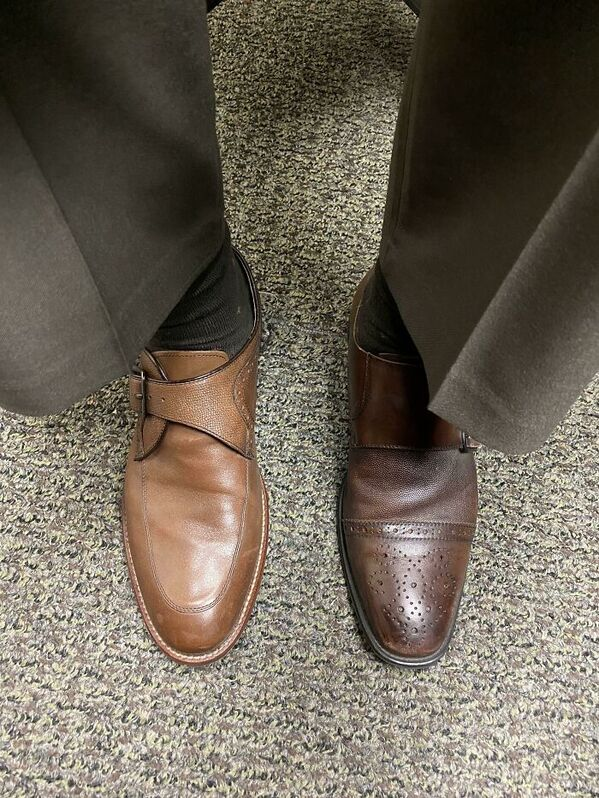 two different color shoes, funny people having a worse day, well that sucks