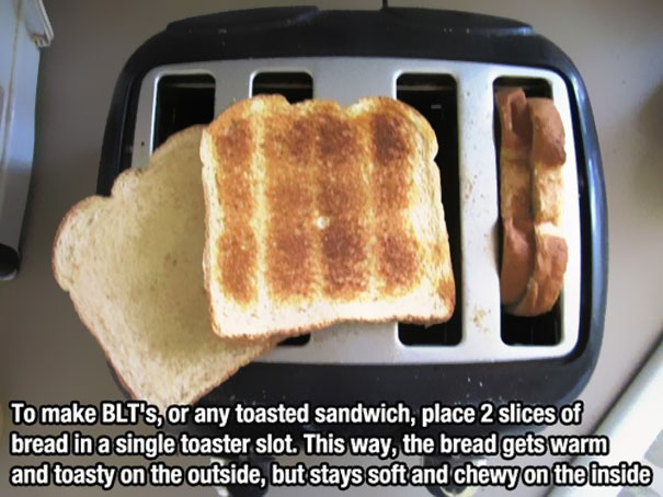 toast two pieces of bread at onc life hack