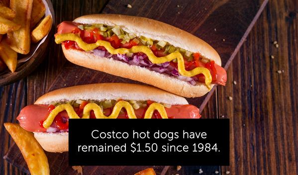 costco hotdogs remain a dollar fifty, random facts
