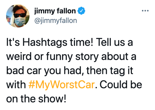 My worst car, Jimmy Fallon hashtag games, twitter challenges, best jimmy Fallon tweets, funny twitter answers to Jimmy Fallon, comedians share worst car stories