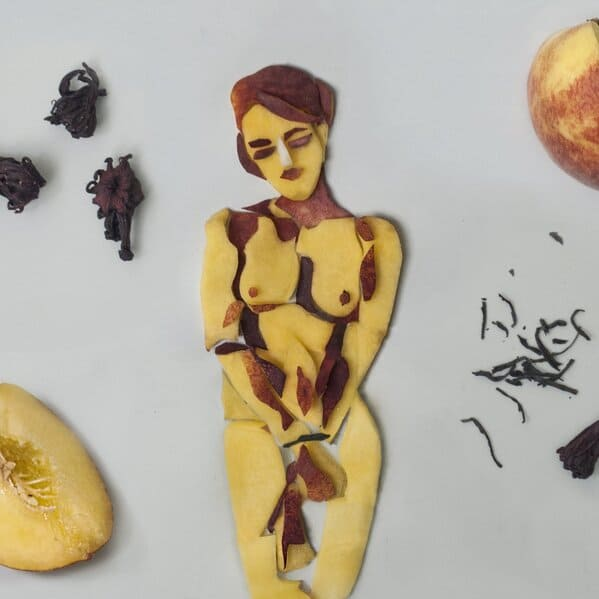 Food porn, body positivity, art, everyday objects, painting, sketches, cool art, jolita vaitkute, funny naked photos with vegetables and fruit, food made into art, artist makes food into sexy art