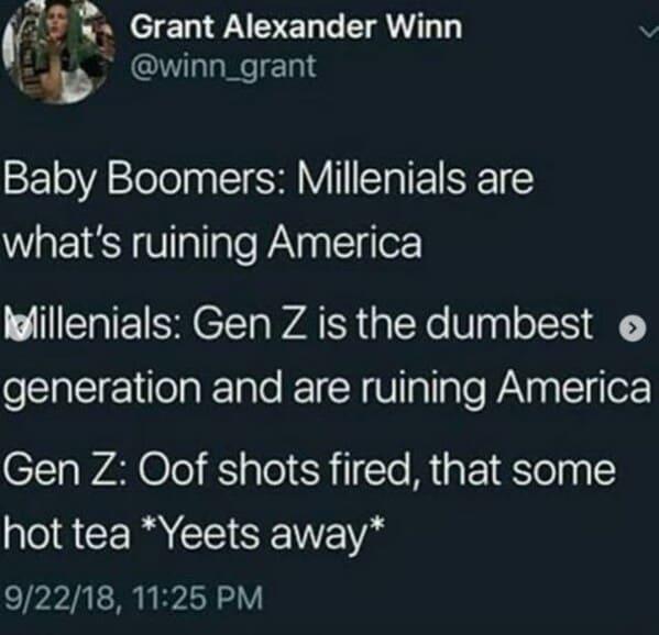 Millennials gen z memes, funny roasts of millennials, get z mean to millennials, generational war, funny memes about millennials, funny roast jokes