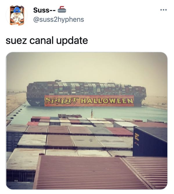 Funny Suez Canal memes, tweets about the stuck ship, boat stuck in the water, evergreen boat, shipping freight stuck in Egypt, funny hilarious pics of boat stuck