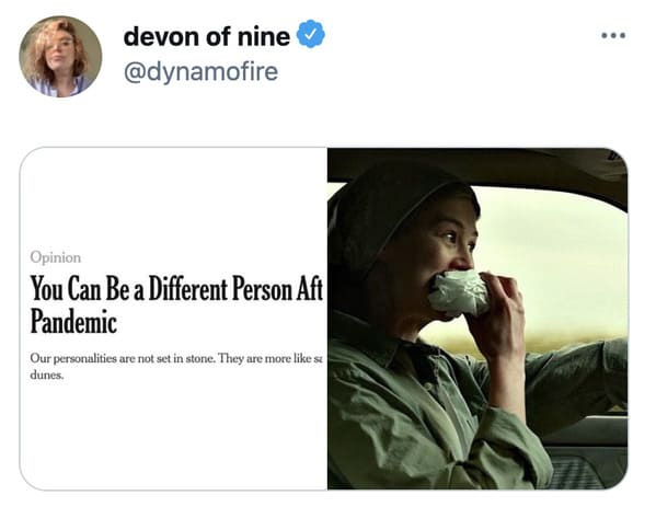 You can be a different person after the pandemic memes, funny tweets about changing personalities, split personality, funny jokes about NY Times Op ed, twitter game, challenge, NYT opinion section jokes, COVID