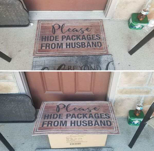 Funny doormats, funny pics from houseguests, r funny, reddit, jokes, dog jokes, weird signs, houseguests not feeling welcome, hilarious signs outside house, lol