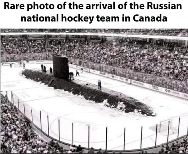 russian sub emerging out of ice in hockey rink, Funny Fake history photos, r fakehistoryporn, facts about history that are not true, false textbook photos, historical pics with funny captions, lol, jokes, old photos with hilarious explanations, funny pics