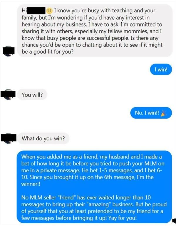 Funny multi-level marketing scheme revenge roast reddit thread, Reddit anti mlm, hilariously mean jokes about MLM, monat, Facebook scammers, stopping scams, pyramid schemes, Karens, huns