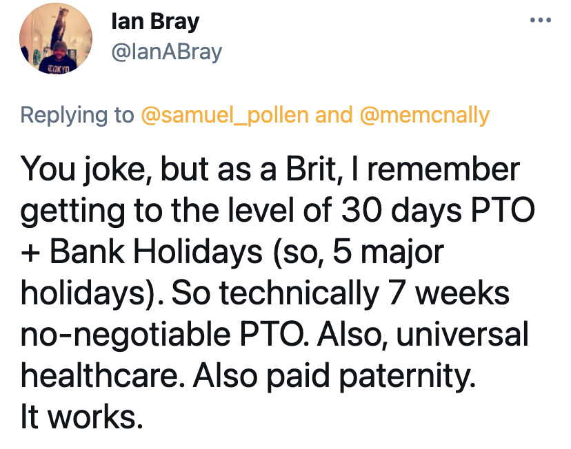 Americans discuss work ethic in other countries, America vacation time issues, European countries out of office message, funny viral tweet about work ethics, Americans are overworked and underpaid