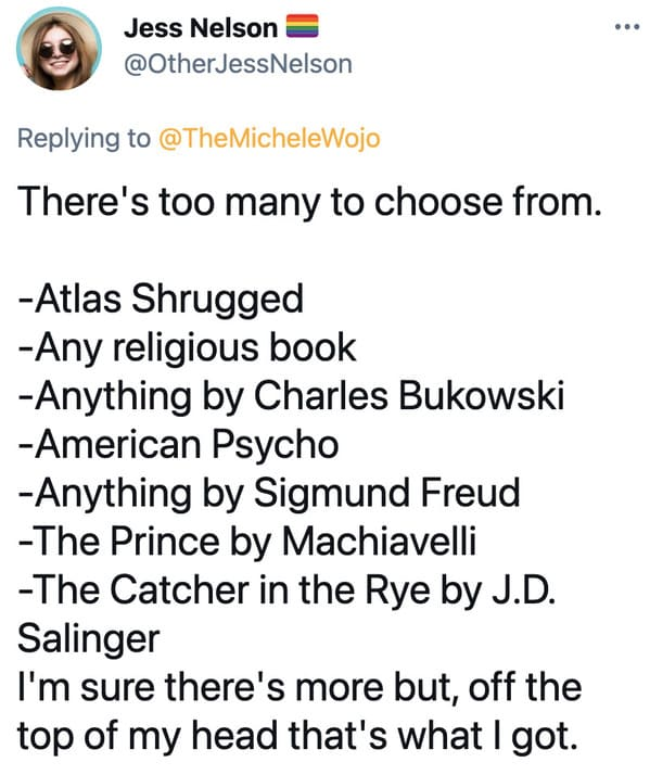 Favorite book red flag viral twitter thread, tweets about favorite novels, books that are red flags, novels, reading, dating, single, people who judge other people's taste in literature, viral tweet