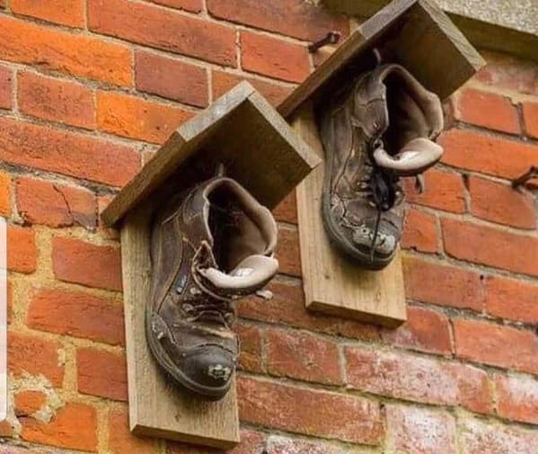 boots turned into a birdhouse, Funny DIY solutions, DIY fails, funny pictures of people trying to fix something and making it worse, lol, reddit, r redneckengineering, do it yourself, questionable DIY projects