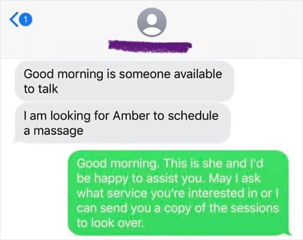 Guy shut down by masseuse for asking for happy ending texts, funny fails, dude embarrasses himself by asking for hand job from massage parlor, funny mean texts, cheater caught