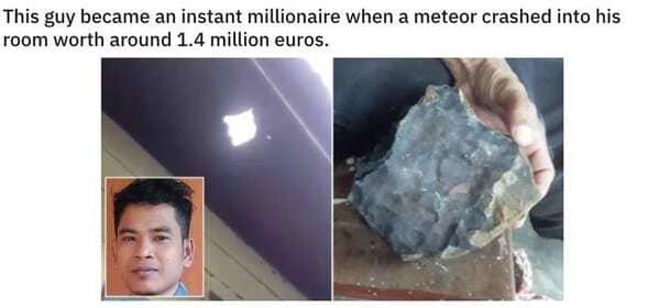 meteorite hits home worth a lot of money, Never tell me the odds, r nevertellmetheodds, reddit, funny pics, impossible moments caught on camera, things that actually happened against all odds, weird, cool, perspective
