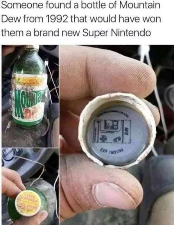 winning cap of mountain dew with snes underneath, Never tell me the odds, r nevertellmetheodds, reddit, funny pics, impossible moments caught on camera, things that actually happened against all odds, weird, cool, perspective