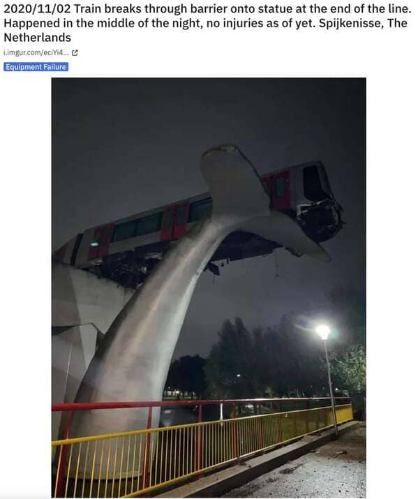 whale tail statue holding up derailed train, Never tell me the odds, r nevertellmetheodds, reddit, funny pics, impossible moments caught on camera, things that actually happened against all odds, weird, cool, perspective