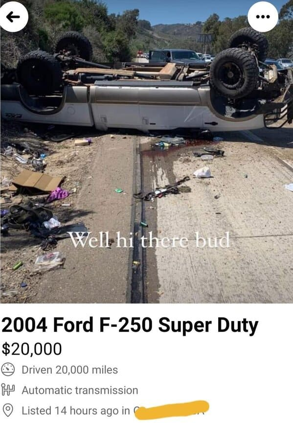 flipped car, totaled, Unusual Marketplace posts, Strange sellers twitter, funny and weird things people actually tried to sell online, wtf, weird Facebook marketplace