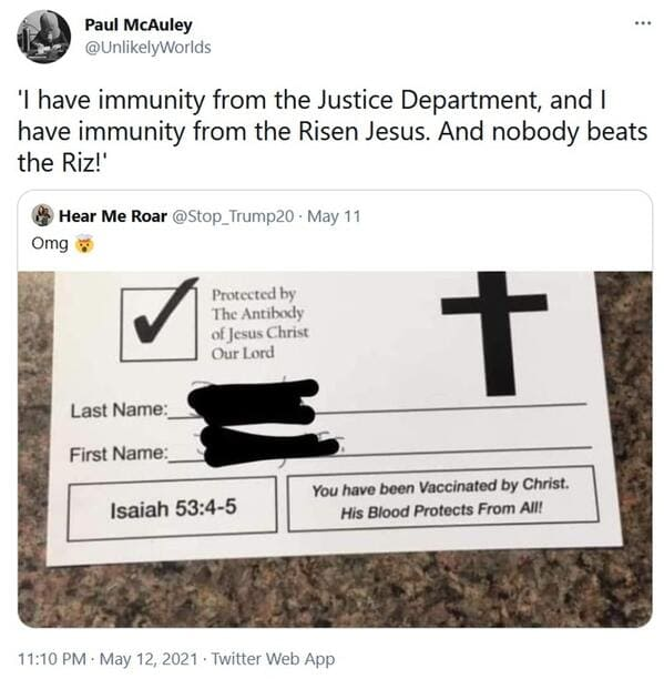Vaccinated by the lord card, viral tweet about fake vaccine proof, vaccine from god, protected by Jesus, roasting christians, funny pics
