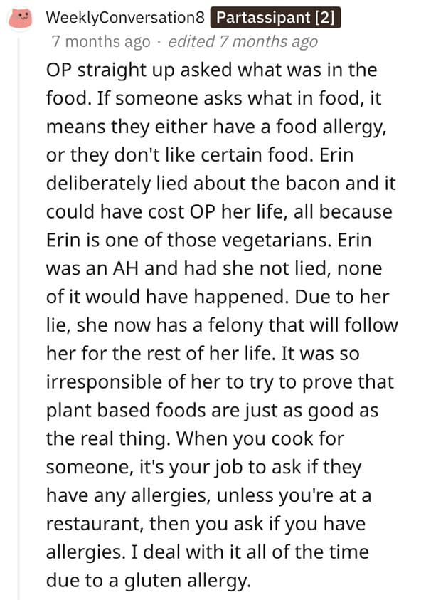 Vegan roommate sued story, cooked vegan food and poisoned roommate, allergies, AITA, Reddit, am I the asshole, felony charges for vegan food cooking