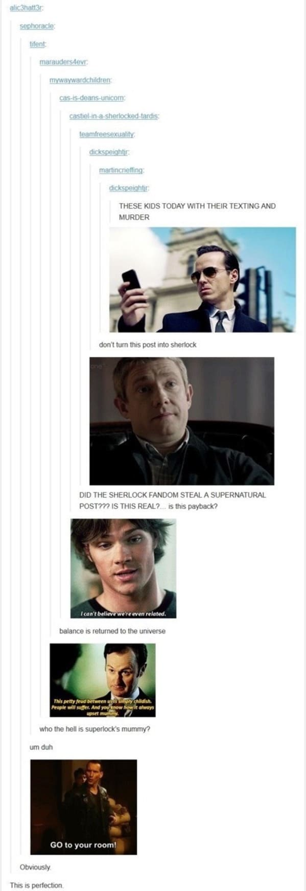 sherlock supernatural, tumblr fandom
