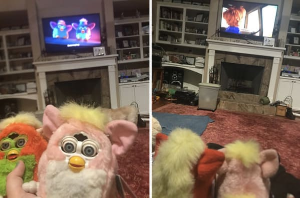 furbies watching movies with furby owner, tumblr