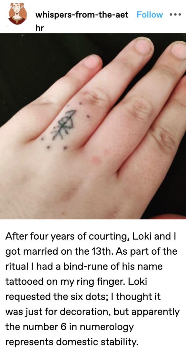 loki married, godspouse photo of tattoo