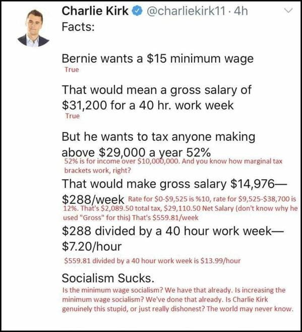 charlie kirk bad faith argument against minimum wage, Bad arguments about increasing the minimum wage, confidently incorrect, dumb statements about wage increases, capitalism, poverty, socialism, lol