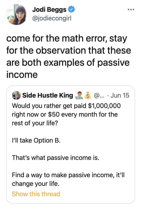 Funny math error goes viral, would you rather have one million or fifty dollars meme, terrible math, did the math, twitter, viral tweet about passive income