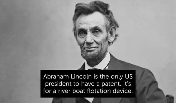 abraham lincoln, only president with a patent