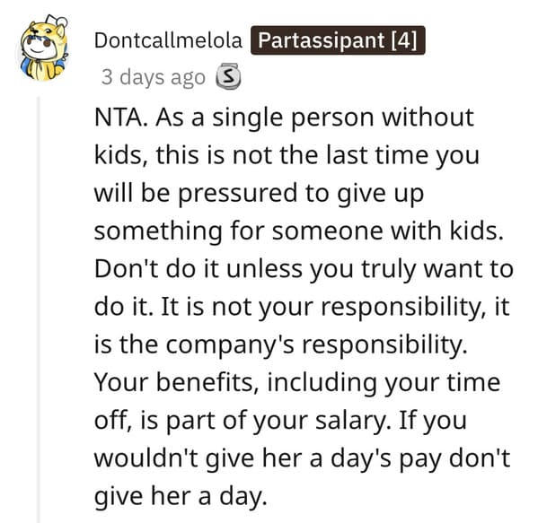 Woman asks if she's the asshole to not give up vacation days, single woman versus pregnant woman vacation days AITA, American workers, sad, funny, Reddit question