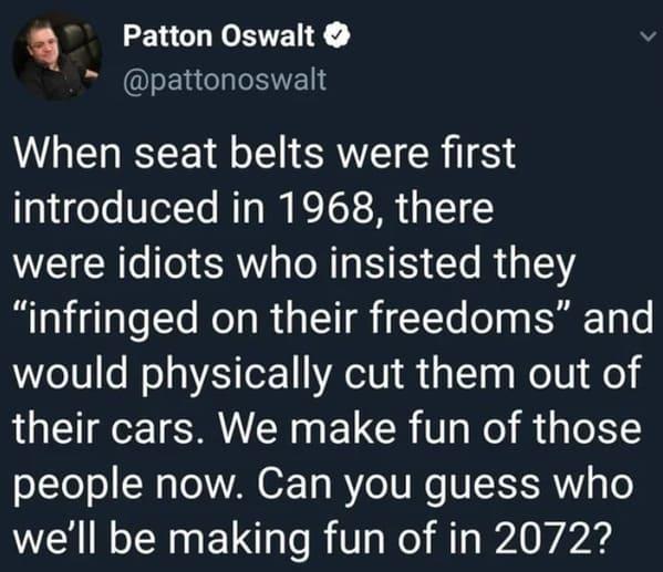 Patton Oswalt tweet, joke about seat belts versus masks, Funny Karen roasts, roasting Karens, jokes about the name Karen, reddit, r fuckyoukaren, entitled people, rude women, jokes, lol, humor, funny
