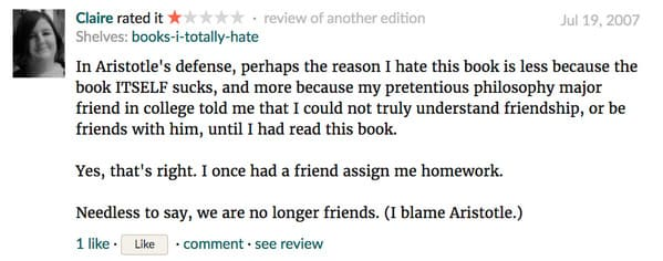 Funny one star goodreads reviews, readers hating well known books, reading novels, one star, good reads, online reviews, insane people Facebook, lol, humor, funny